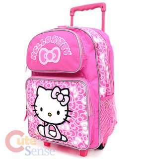 Sanrio Hello Kitty School Roller Backpack Rolling Bag Pink Bows 2