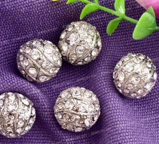 silver tone metal rhinestone ball pendants beads