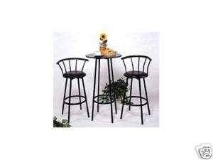 Pc. BLACK BAR TABLE & 2 SWIVEL Black CHAIRS Set