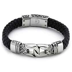 Stainless Steel Mens Black Leather Bracelet