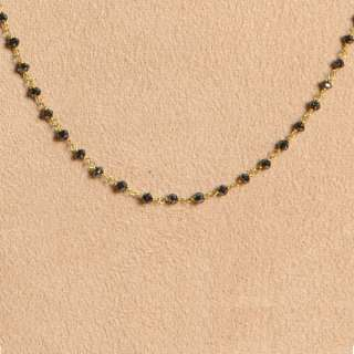 YELLOW GOLD BLACK DIAMOND BEADED NECKLACE FINE FASHION JEWELRY