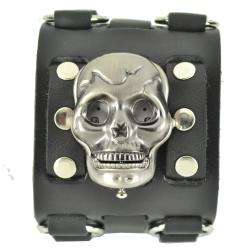 Mens Punk Rock Wide Studded Skull Leather Band Watch