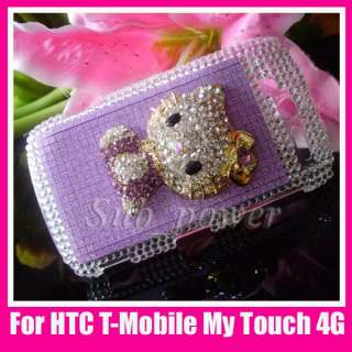 3D Purple hello kitty Bling Crystal Case cover for HTC T Mobile