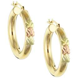 12k Black Hills Gold Tube Hoop Earrings