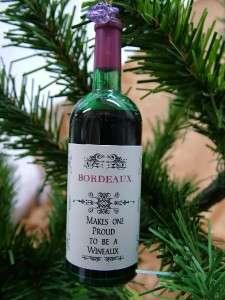 Wine Bottle Bordeaux Red Glasses New Christmas Ornament