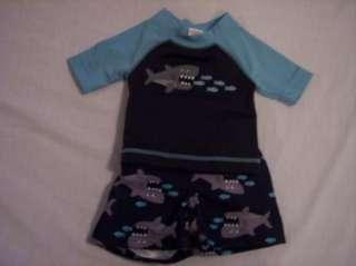 NWT Boys Gymboree Fish rashguard shirt & swim trunks shorts 3 6 12 18