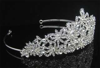 Wedding/Bridal crystal veil tiara crown headband CR185