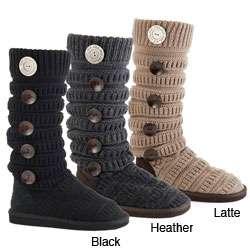 Muk Luks Womens Textured Knit Boots