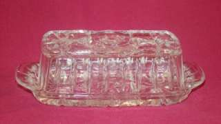 Vintage Pressed Glass Fancy Butter Dish with Lid