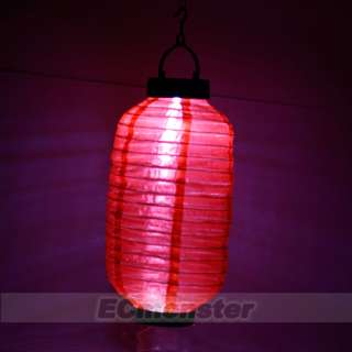 Long Round Solar Powered Red Lantern Light Garden Wedding Party Decor