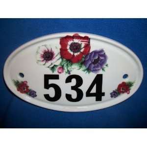 Anemone Flower Design House Number Door Plaque