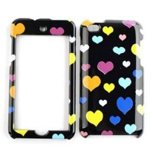Apple iPod Touch 4 (iTouch) Multi Hearts on Black Hard Case, Cover