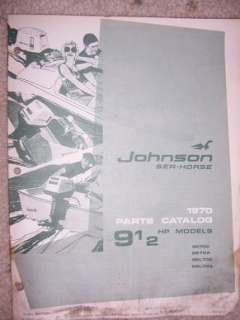 1970 Johnson Motor Parts Catalog Sea Horse 9 1/2 HP M