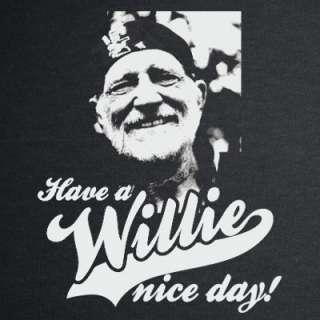 WILLIE NICE DAY T shirt nelson marijuana weed music BLK