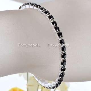 Plated Black Rhinestone Crystal Anklet Bracelet 6L Stretchy