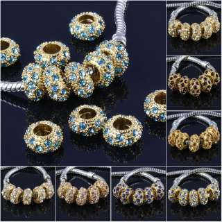 Multicolor Rhinestone Inlay Spacer Charm Beads 20pcs