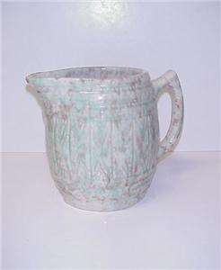 ANTIQUE STONEWARE PITCHER VERY LARGE BROWN & GREEN