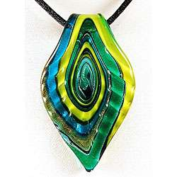Murano style Glass Green and Blue Ripple Leaf Pendant