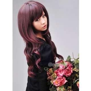 Long Wavy/Curly Hair Wigs Side Bang Adjustable Chestnut DYE