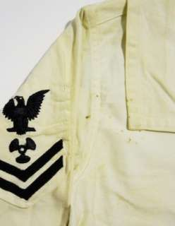 Vintage 40s WW2 Navy USN Underdress White SAILOR Uniform Flap Shirt 36