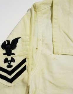 Vintage 40s WW2 Navy USN Underdress White SAILOR Uniform Flap Shirt 36