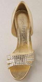 NIB Pedro Garcia Megan Sandal Swarovski Crystal Gold 38