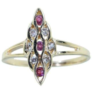 14k yellow Gold Genuine Ruby and Diamonds Ring