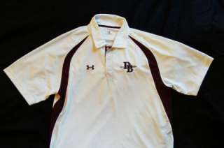 Mens UNDER ARMOUR white HEAT GEAR Loose Fit Sports Polo Collar Shirt L