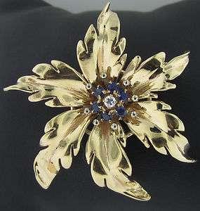 Tiffany & Co. Vintage Estate Gold, Sapphire Diamond Brooch Pin 14K
