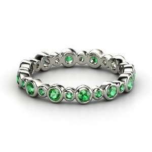 Heartbeat Band, 14K White Gold Ring with Emerald