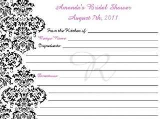 DAMASK Recipe Cards ~ WEDDING ~ BRIDAL Shower Keepsake