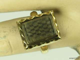 ANTIQUE VICTORIAN 14K YELLOW GOLD WOVEN HAIR MOURNING RING DATED 1863