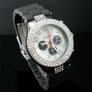 Bling Crystal Rhinestone Mens Ladies Women Wrist Watch