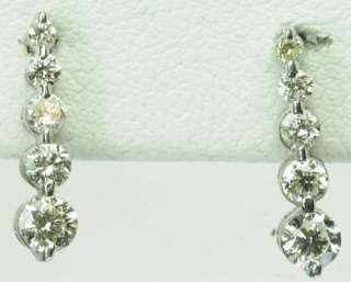 SOLID WHITE GOLD DIAMOND DROP DANGLE ESTATE EARRINGS J215026