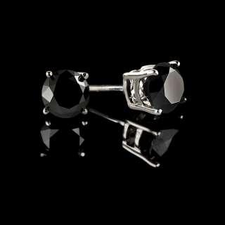 CTW BLACK ROUND DIAMOND STUD EARRINGS 14K WHITE GOLD