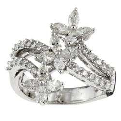 White Gold 1 3/8ct TDW Diamond Flower Ring (I J, SI I)