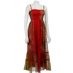 Magic Womens Coral Multi color Smocked Maxi Dress  Overstock