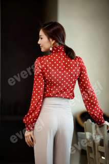 New Womens Clothes Ruffle Front high neck polka dot Print Top Shirt