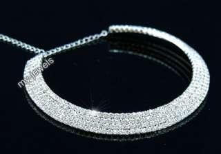 Rare Wedding 4 Row Crystal Rhinestone Flat Choker C042