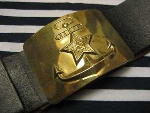 Soviet Navy Sailor Black Leather Belt Brass Buckle