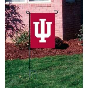 INDIANA HOOSIERS OFFICIAL LOGO GARDEN FLAG + STAND Sports