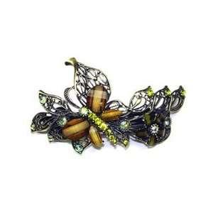Green Color Austrian Rhinestone Butterfly Brass Tone Hair