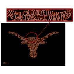 Texas Longhorns Fight Song Lyric Logo Poster