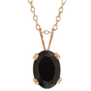 0.68 Ct Oval Shape Black Onyx Rose Gold Plated Silver