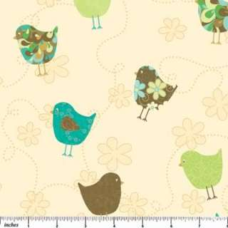 Northcott Fabric Wallpaper Decorated Birds Bird Green Blue Aqua Brown