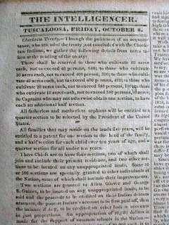 Rare 1830 TUSCALOOSA Alabama newspaper CHEROKEE INDIAN REMOVAL Trail