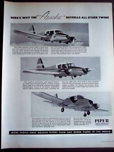 1957 Piper Apache Airplanes vintage aircraft ad