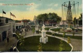 PEORIA ILLINOIS AL FRESCO AMUSEMENT PARK RIDES POSTCARD