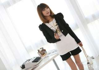 New Korean Women One Button Long Sleeve Bolero Shrug Jacket Coat Black