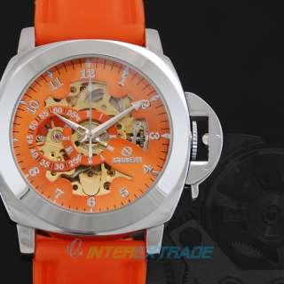 New Dynamic Orange Soft Rubber Racing Skate Men Auto Mechanical Wrist